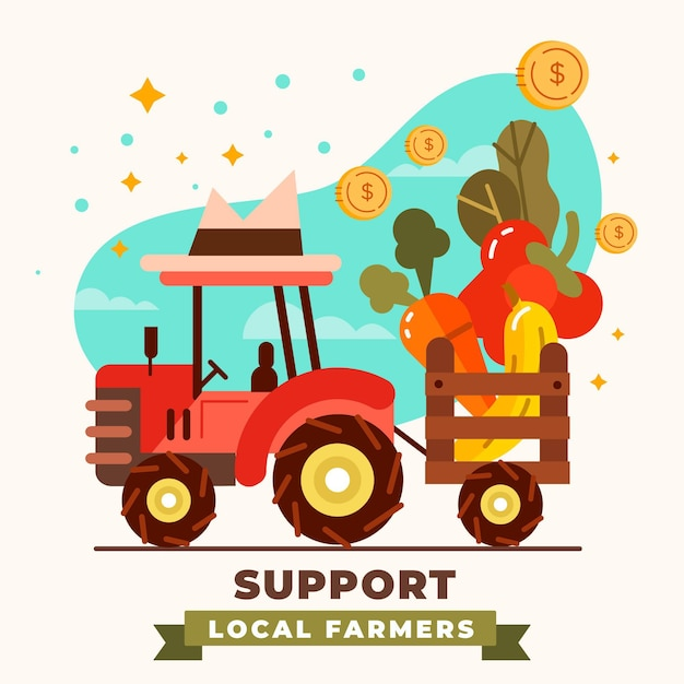 Conceito ilustrado de apoio aos agricultores locais Vetor grátis
