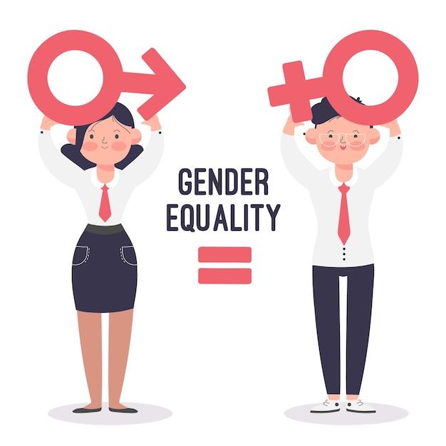 Conceito ilustrado de igualdade de gênero Vetor Premium