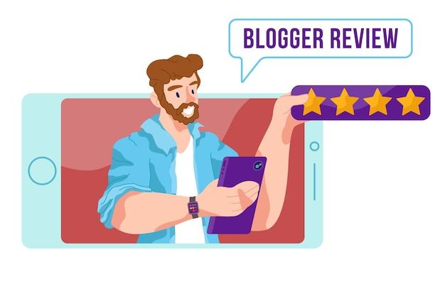 Conceito ilustrado de revisão do blogger Vetor grátis