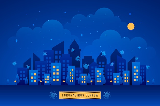 Conceito ilustrado do toque de recolher de coronavírus com cidade à noite Vetor Premium