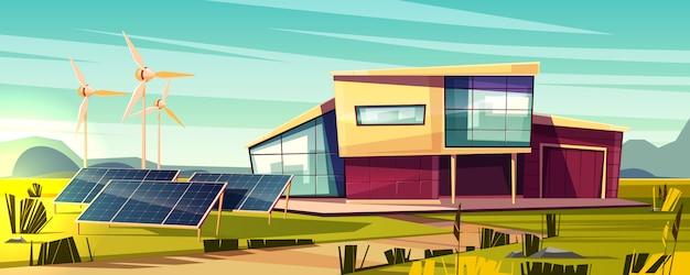 Conceito independente dos desenhos animados da casa eficiente, da energia. casa de campo moderna com painel solar Vetor grátis