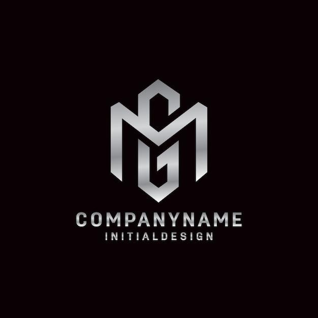 Conceito inicial do logotipo da letra gm estilo simples e minimalista Vetor Premium