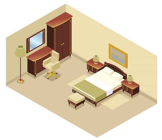 Conceito interior de quarto de hotel isométrico com cama mesa de cabeceira espelho cadeira cadeira cômoda lâmpadas tapete Vetor grátis