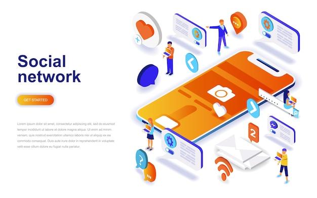 Conceito isométrica de design plano moderno de rede social. Vetor Premium