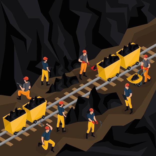 Conceito isométrico da indústria de carvão Vetor grátis