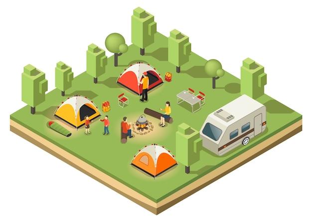Conceito isométrico de acampamento itinerante Vetor grátis