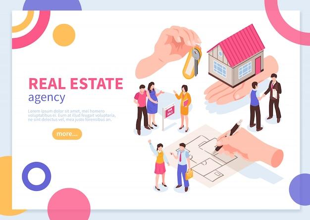 Conceito isométrico de agência imobiliária de modelo de banner da web com ilustração vetorial de elementos geométricos coloridos Vetor grátis