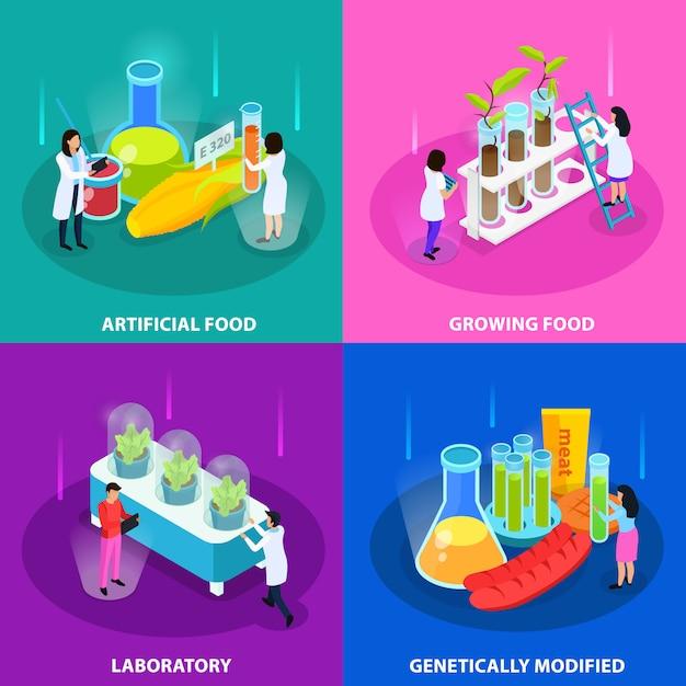 Conceito isométrico de alimentos artificiais com cultivo de vegetais em laboratório e produtos geneticamente modificados isolados Vetor grátis