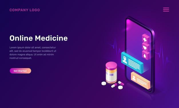 Conceito isométrico de aplicativo móvel de medicina on-line Vetor grátis