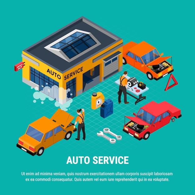 Conceito isométrico de auto serviço com ilustração em vetor ferramentas diagnóstico e equipamento Vetor grátis