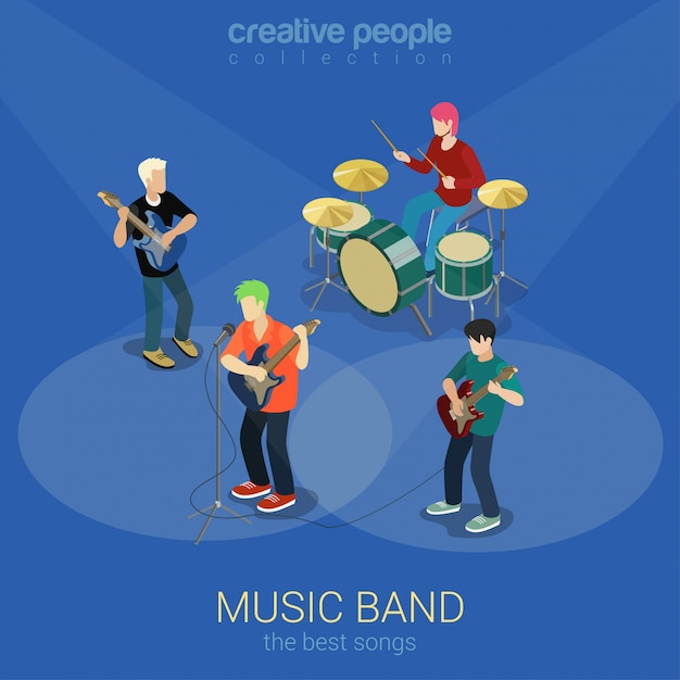Conceito isométrico de banda de música rock. as pessoas tocam ilustração de instrumentos musicais. Vetor Premium