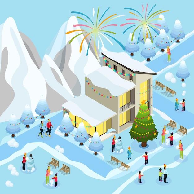 Conceito isométrico de celebração de natal com fogos de artifício esporte de inverno crianças familiares fazendo boneco de neve perto de casa e árvore decorada Vetor grátis