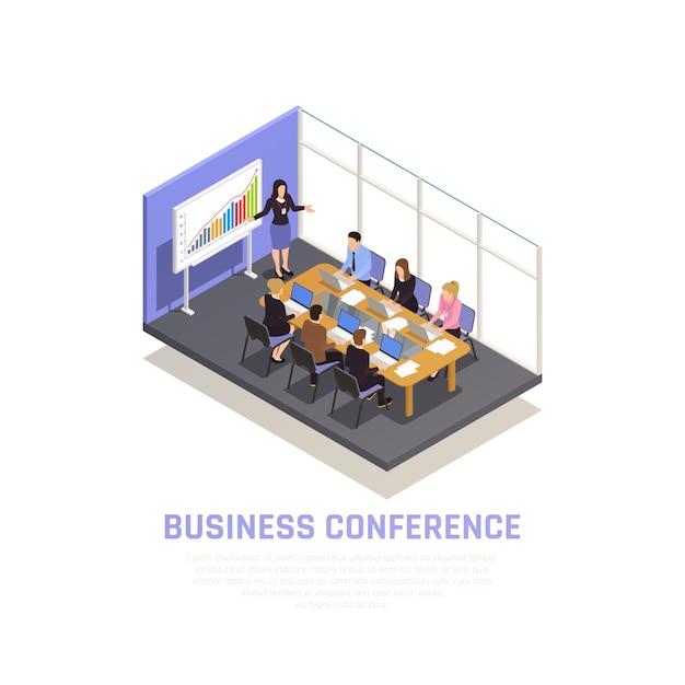 Conceito isométrico de coaching de negócios com símbolos de conferência de negócios Vetor grátis
