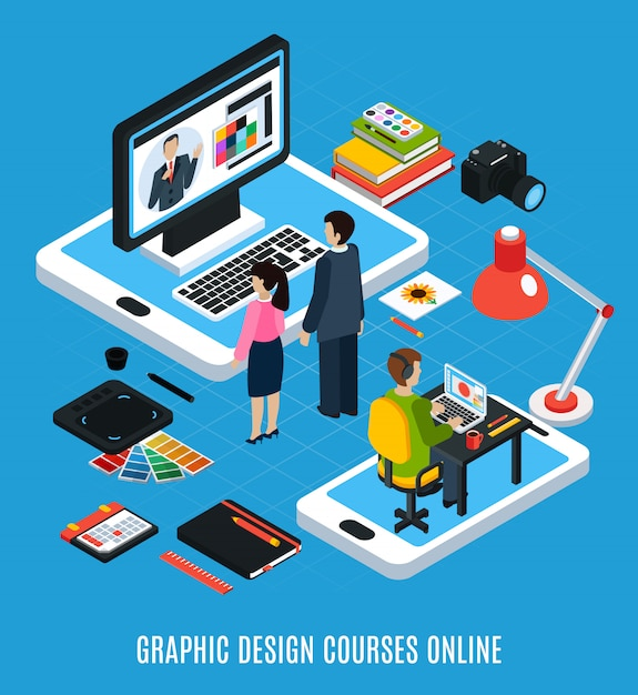 Conceito isométrico de cursos de design gráfico on-line com ilustração em vetor 3d alunos computador tablet amostras de livros Vetor grátis