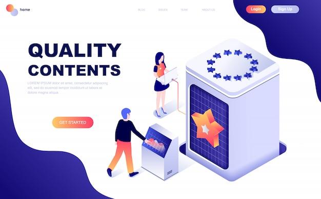 Conceito isométrico de design moderno plano de conteúdo de qualidade Vetor Premium