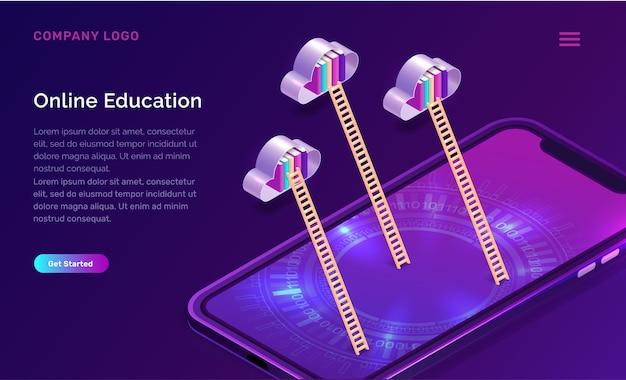 Conceito isométrico de educação on-line Vetor grátis