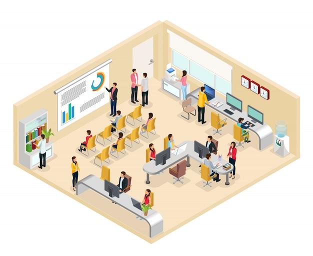 Conceito isométrico de escritório de coworking com pessoas trabalhando em diferentes mesas de escrivaninhas e mantendo a conferência de negócios isolada Vetor Premium