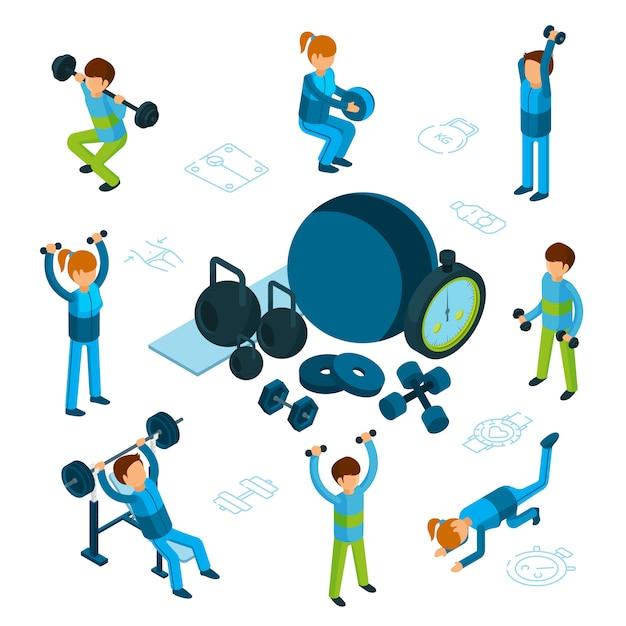 Conceito isométrico de esporte ou fitness. trem masculino e feminino, artigos esportivos, isolados no fundo branco Vetor Premium