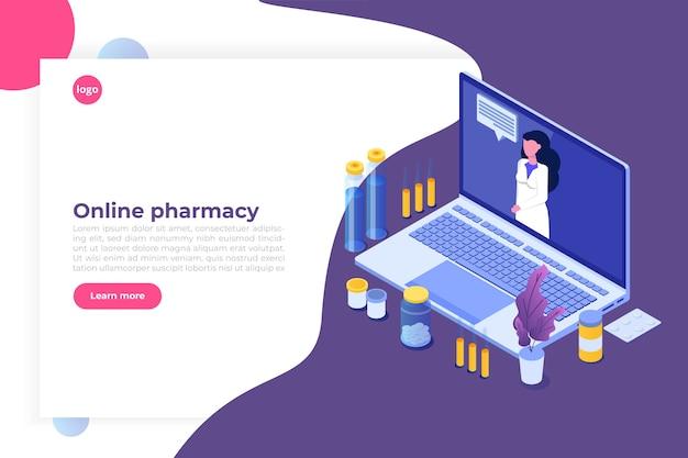Conceito isométrico de farmácia online com frasco de comprimidos de medicamento. Vetor Premium
