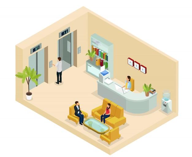 Conceito isométrico de hall de escritório com secretária pessoas sentadas na estante do sofá e elevadores de refrigerador de água isolados Vetor grátis