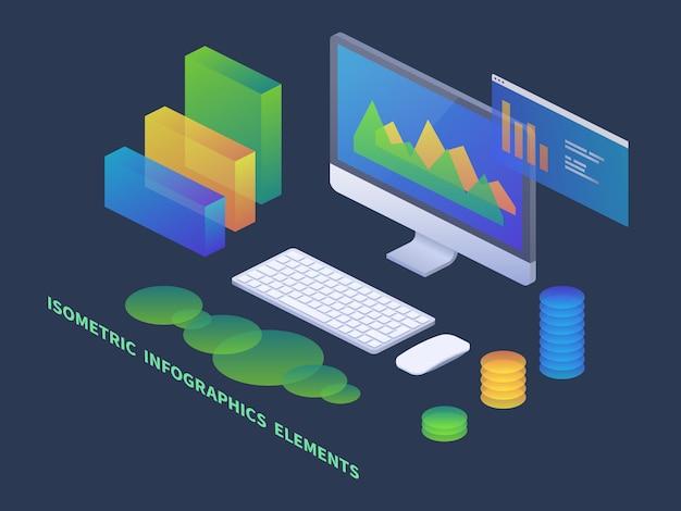 Conceito isométrico de infográficos de negócios. pc com gráficos de dados e diagramas estatísticos Vetor Premium