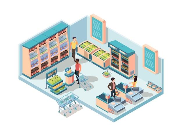 Conceito isométrico de interior de supermercado. Vetor Premium