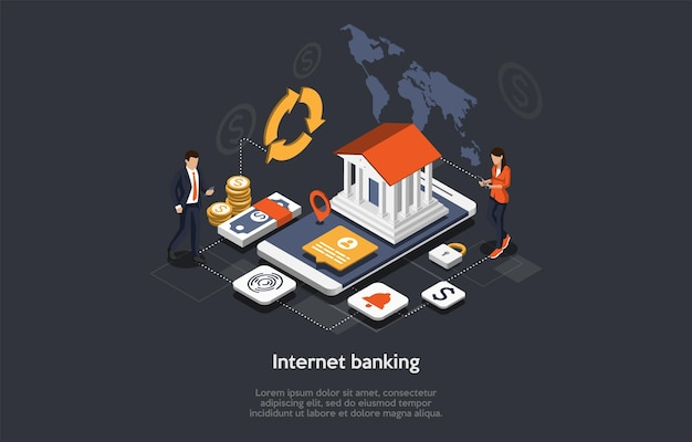 Conceito isométrico de internet banking. pessoas usam aplicativo de banco móvel. transação de segurança de pagamento online. personagens de negócios transferem dinheiro online, efetuem pagamentos. ilustração do vetor dos desenhos animados. Vetor Premium