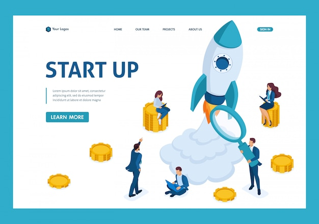 Conceito isométrico de investir em startups, lançamento de foguetes, jovens empreendedores landing page Vetor Premium