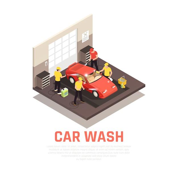 Conceito isométrico de lavagem de carros com autoatendimento e símbolos automáticos de lavagem de carros Vetor grátis