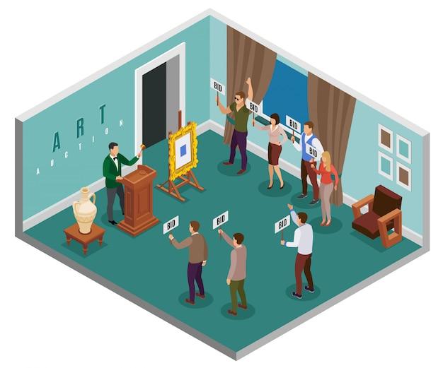 Conceito isométrico de leilão com salão no edifício e pessoas com ilustração de comprimidos Vetor grátis