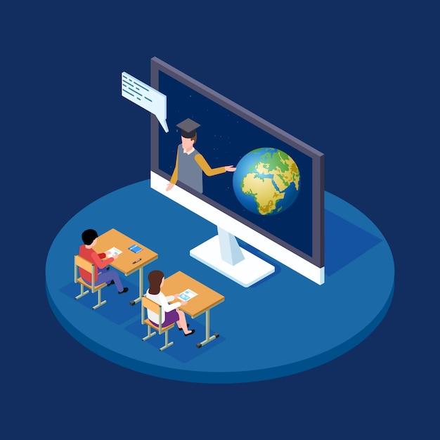 Conceito isométrico de lição de astronomia online. professor remoto fala às crianças sobre ilustração de terra e espaço Vetor Premium