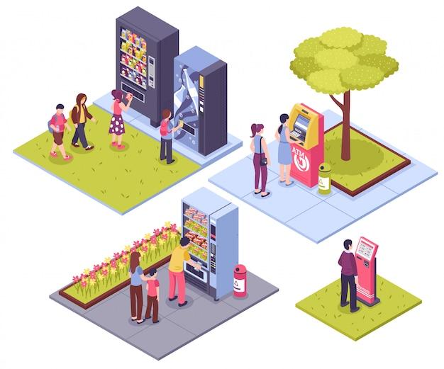 Conceito isométrico de máquinas de venda automática Vetor grátis