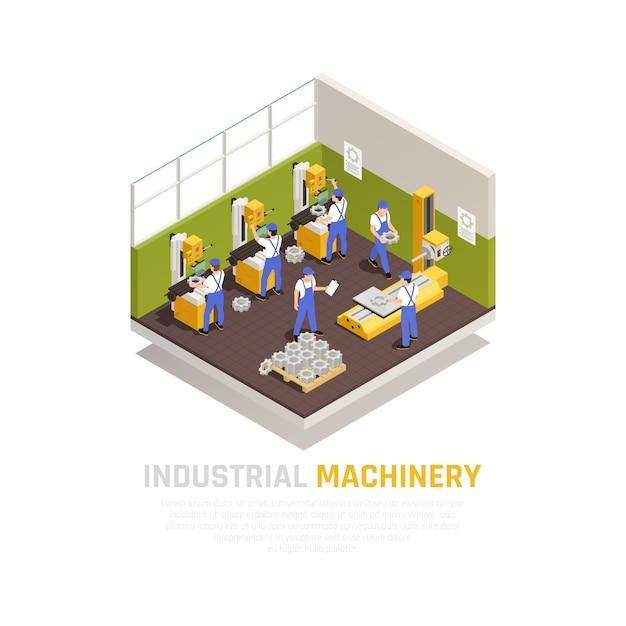 Conceito isométrico de máquinas industriais com símbolos de fabricação de fábrica Vetor grátis