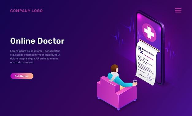 Conceito isométrico de medicina on-line, telemedicina Vetor grátis