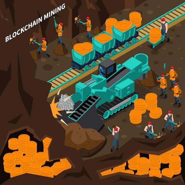 Conceito isométrico de mineração blockchain Vetor grátis