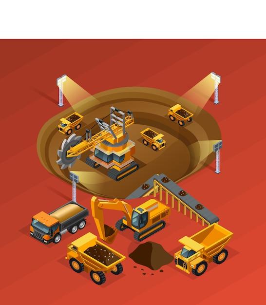 Conceito isométrico de mineração Vetor Premium