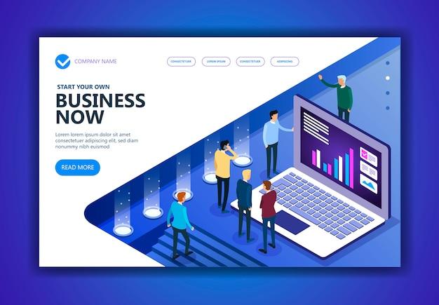 Conceito isométrico de negócios e finanças Vetor Premium