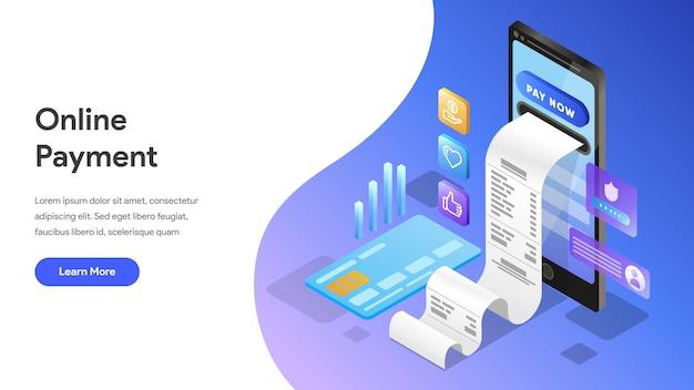 Conceito isométrico de pagamento on-line para landing page, página inicial, site Vetor Premium