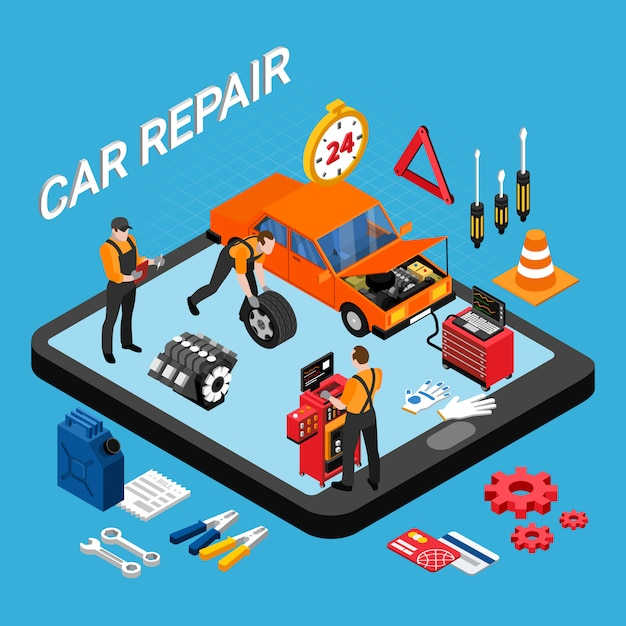 Conceito isométrico de reparação automóvel com peças de reposição e ilustração vetorial de ferramentas Vetor grátis