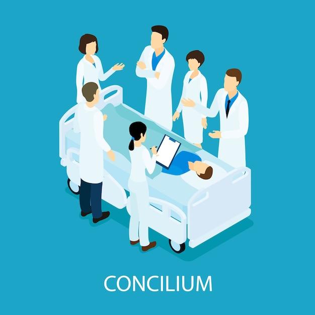 Conceito isométrico de reunião médica Vetor grátis