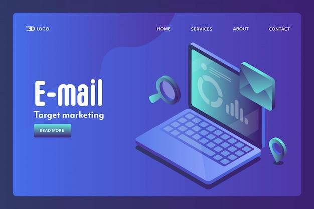 Conceito isométrico de segmentação por email Vetor Premium