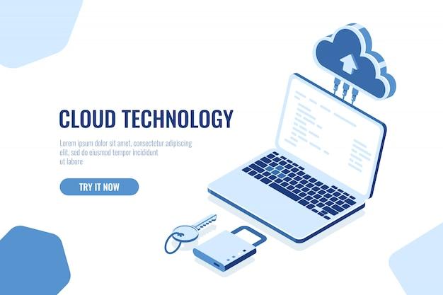 Conceito isométrico de segurança de dados, tecnologia de armazenamento em nuvem, banco de dados de sala de servidores remotos de transferência de dados Vetor grátis