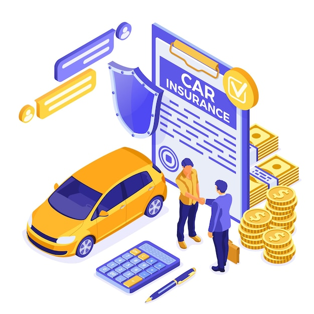 Conceito isométrico de seguro de carro para cartaz, site da web, publicidade Vetor Premium