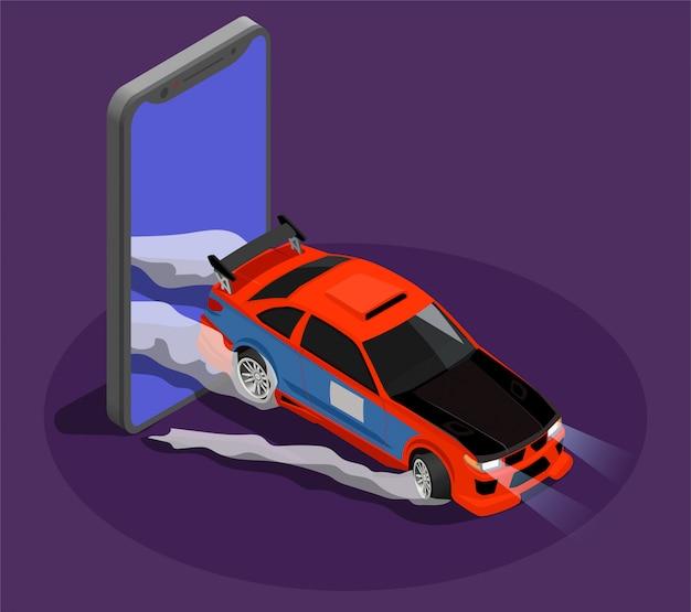 Conceito isométrico de sintonização de carro, simbolizando a deriva de carro de burnout carro deixando a tela do smartphone Vetor grátis