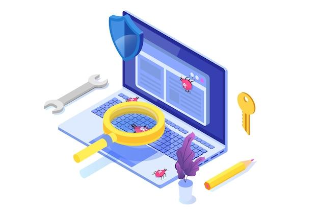 Conceito isométrico de teste de software ou aplicativo. processo de desenvolvimento de depuração. Vetor Premium