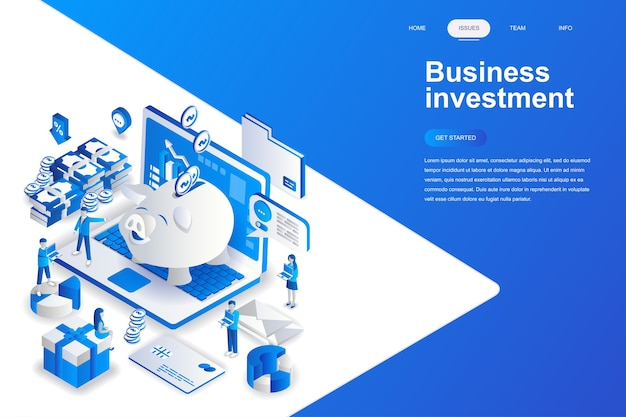 Conceito isométrico do design plano empresarial moderno de investimento. Vetor Premium