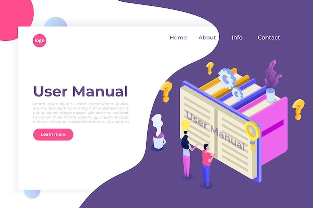 Conceito isométrico do manual do usuário Vetor Premium