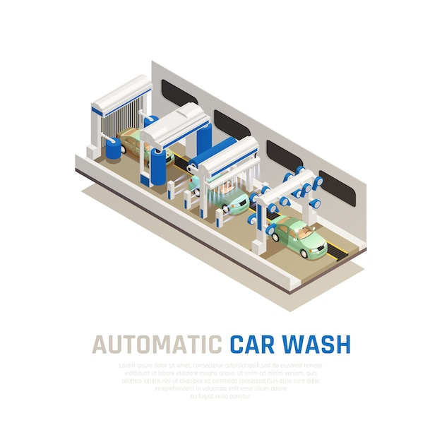 Conceito isométrico do serviço de lavagem de carros com símbolos de lavagem de carros automática Vetor grátis
