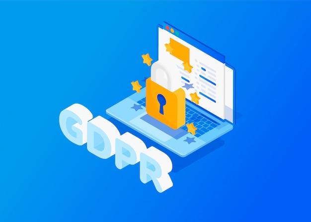 Conceito isométrico gdpr. proteção de dados pessoais. Vetor Premium