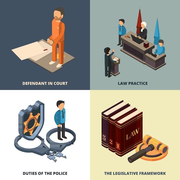 Conceito isométrico jurídico. advogado juiz richter acusado justiça livros martelo e outros símbolos Vetor Premium